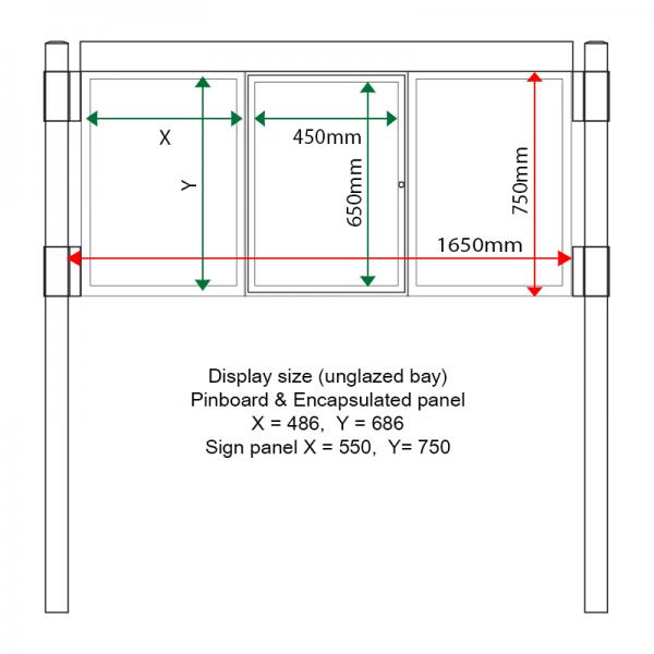 3 bay, single-sided, A2, A-Multi Decorative aluminium noticeboard, 1 bay glazed, straight header option