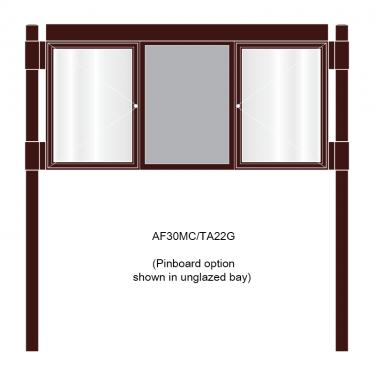 3 bay, single-sided, A2, A-Multi Contemporary aluminium noticeboard, 2 bays glazed, showing pinboard option in unglazed bay