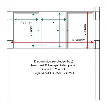 External & internal dimensions of AF30MC-TA22G Aluminium Noticeboard, (centre bay glazed)