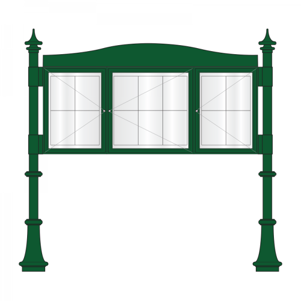 3 bay, single or double-sided, A2/6 x A4/A2 Decorative A-Multi aluminium noticeboard