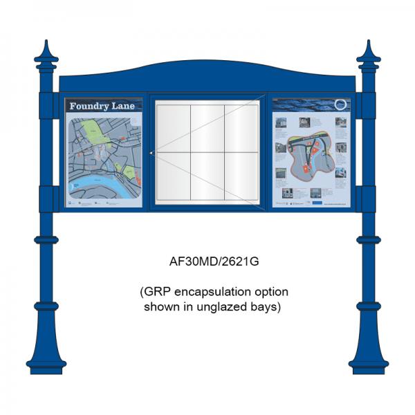 3 bay, single-sided, A2/6 x A4/A2, A-Multi Decorative aluminium noticeboard, 1 bay glazed, showing encapsulation information panel option in unglazed bays