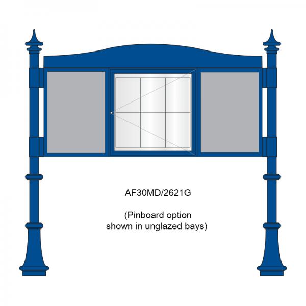3 bay, single-sided, A2/6 x A4/A2, A-Multi Decorative aluminium noticeboard, 1 bay glazed showing pinboard option in unglazed bays