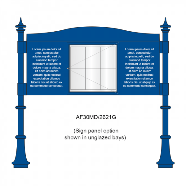 3 bay, single-sided, A2/6 x A4/A2, A-Multi Decorative aluminium noticeboard, 1 bay glazed, showing sign panel panel option in unglazed bays