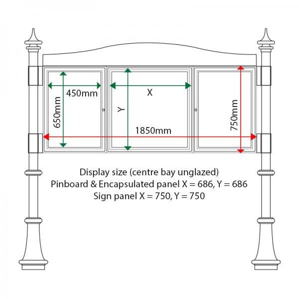 External & internal dimensions of AF30MD-2621G Aluminium Noticeboard, (centre bay unglazed)