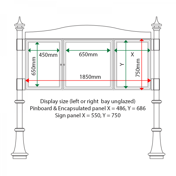 External & internal dimensions of AF30MD-2621G Aluminium Noticeboard, (end bay unglazed)
