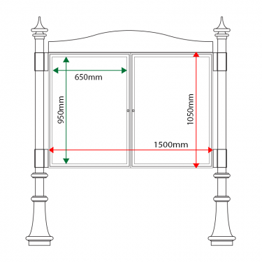 External & internal dimensions of AF30MD-DA1 Aluminium Noticeboard
