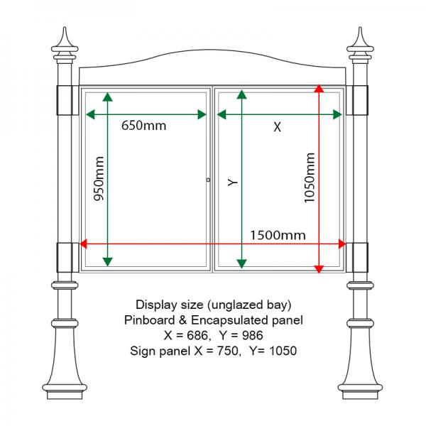 External & internal dimensions of AF30MD-DA11G Aluminium Noticeboard, (one bay glazed)
