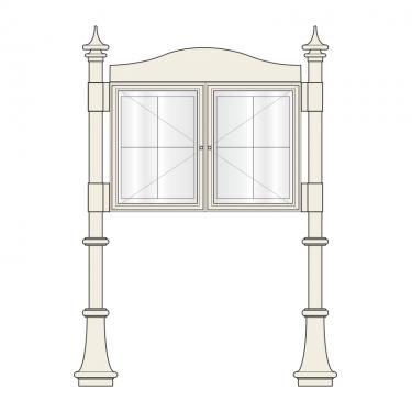 2 bay, single or double-sided, A2, A-Multi Decorative aluminium noticeboard
