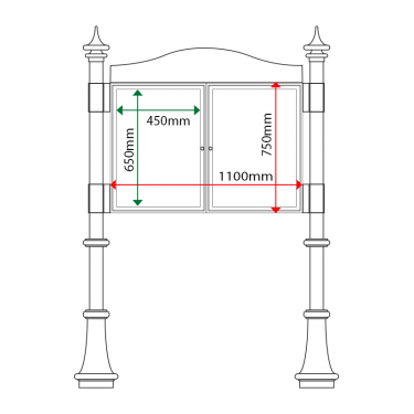 External & internal dimensions of AF30MD-DA2 Aluminium Noticeboard