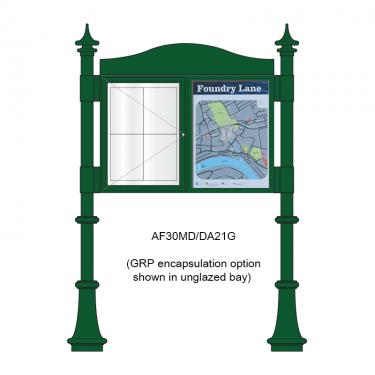 2 bay, single-sided, A2, A-Multi Decorative aluminium noticeboard, 1 bay glazed, showing encapsulated information panel option in unglazed bay