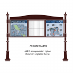 3 bay, single-sided, 6 x A4, A-Multi Decorative aluminium noticeboard, 1 bay glazed, showing encapsulation option in unglazed bays