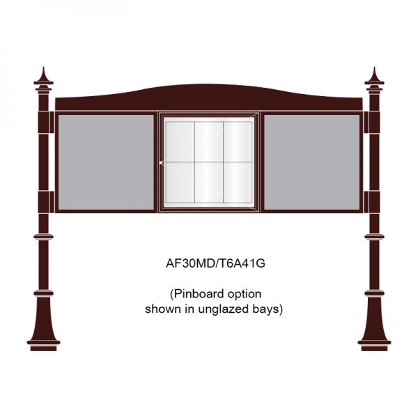 3 bay, single-sided, 6 x A4, A-Multi Decorative aluminium noticeboard, 1 bay glazed, showing pinboardl option in unglazed bays