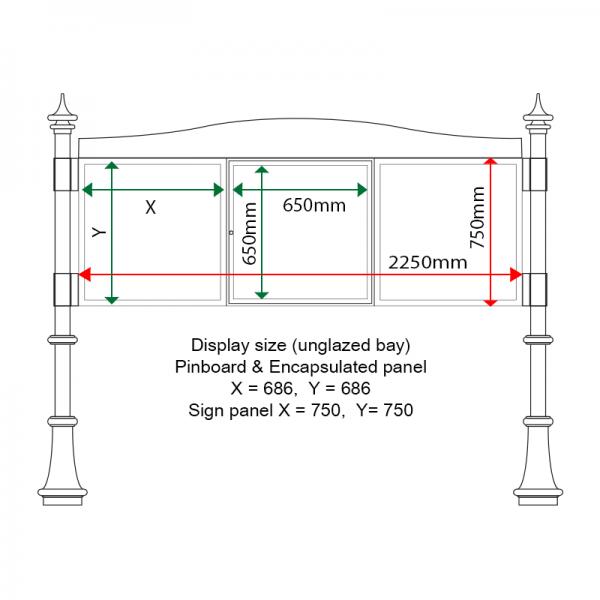 External & internal dimensions of AF30MC-T6A41G Aluminium Noticeboard, (centre bay glazed)