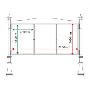 External & internal dimensions of AF30MD-TA1 Aluminium Noticeboard