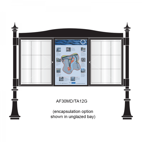 3 bay, single-sided, A1, A-Multi Decorative aluminium noticeboard, 2 bays glazed, showing encapsulated information panel option in unglazed bay