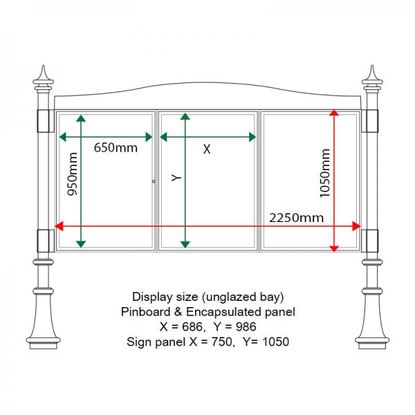 External & internal dimensions of AF30MD-TA12G Aluminium Noticeboard, (centre bay unglazed)