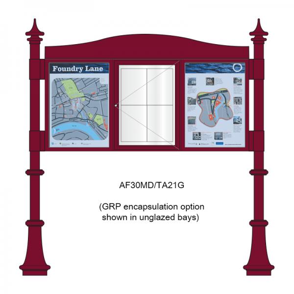 3 bay, single-sided, A2, A-Multi Decorative aluminium noticeboard, 1 bay glazed, showing encapsulated information panel option in unglazed bays