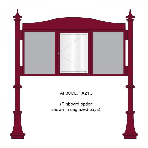 3 bay, single-sided, A2, A-Multi Decorative aluminium noticeboard, 1 bay glazed, showing pinboard option in unglazed bays