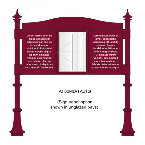 3 bay, single-sided, A2, A-Multi Decorative aluminium noticeboard, 1 bay glazed, showing sign panel option in unglazed bays