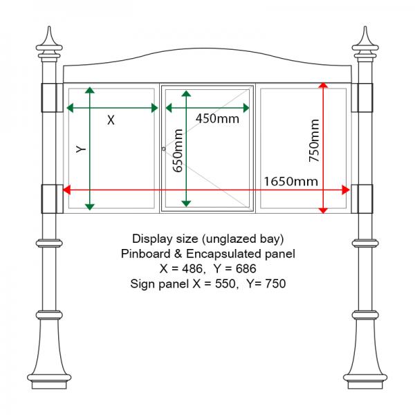 External & internal dimensions of AF30MD-TA21G, 3 bay, single-sided, A2, A-Multi Decorative aluminium noticeboard, 1 bay glazed