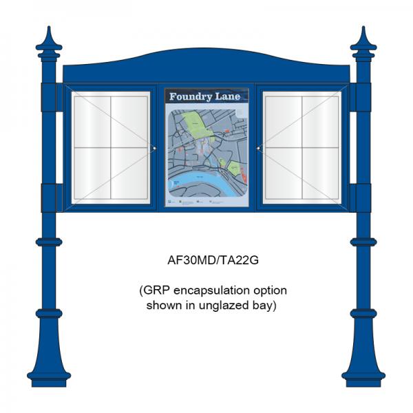 3 bay, single-sided, A2, A-Multi Decorative aluminium noticeboard, 2 bays glazed, showing encapsulated information panel option in unglazed bay
