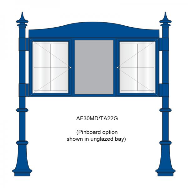 3 bay, single-sided, A2, A-Multi Decorative aluminium noticeboard, 2 bays glazed, showing pinboard option in unglazed bay