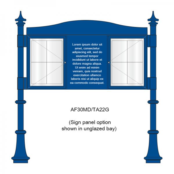 3 bay, single-sided, A2, A-Multi Decorative aluminium noticeboard, 2 bays glazed, showing sign panel option in unglazed bay