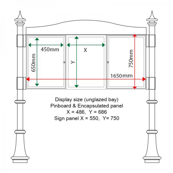 External & internal dimensions of AF30MD-TA22G Aluminium Noticeboard, (centre bay unglazed)