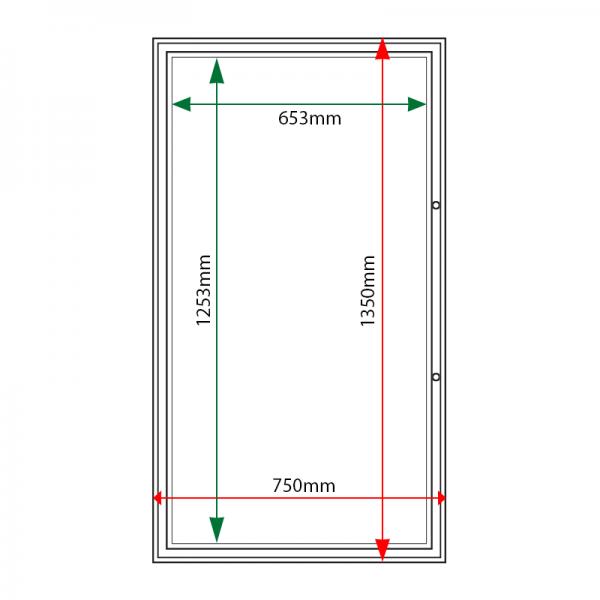 External & internal dimensions of AF58-12A4 Aluminium Noticeboard