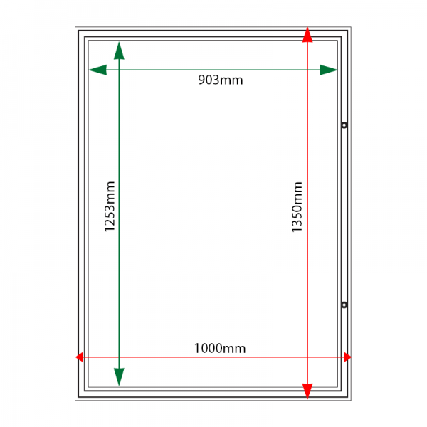 External & internal dimensions of AF58-16A4 Aluminium Noticeboard