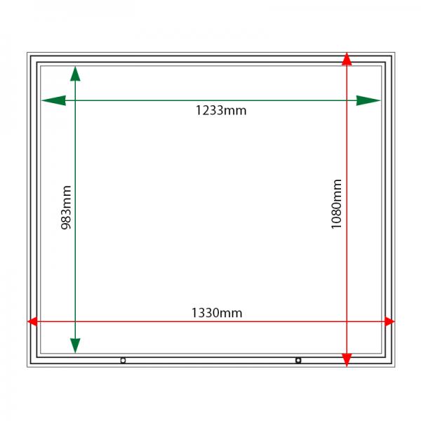 External & internal dimensions of AF58-18A4 Aluminium Noticeboard
