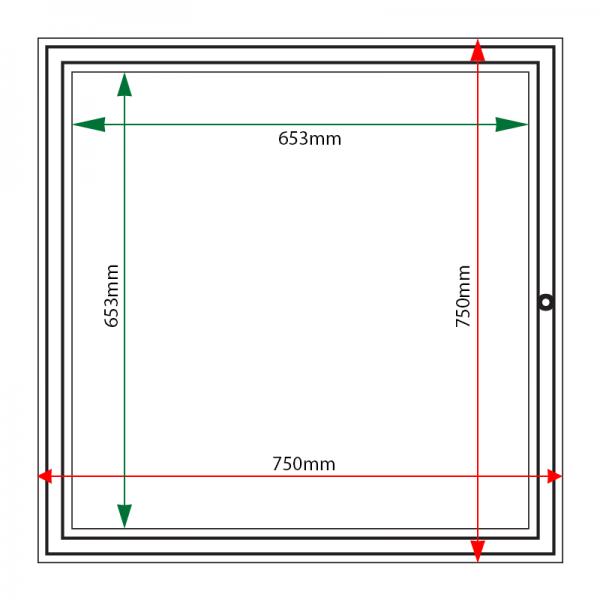 External & internal dimensions of AF58-6A4 Aluminium Noticeboard
