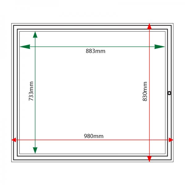 External & internal dimensions of AF58-8A4 Aluminium Noticeboard