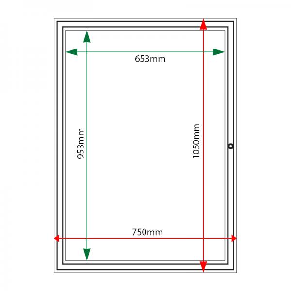 External & internal dimensions of AF58-9A4 Aluminium Noticeboard