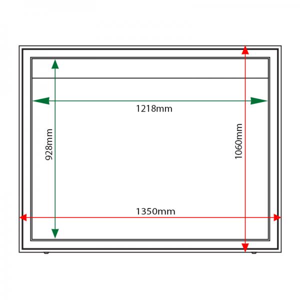 External & internal dimensions of AX18 Aluminium Noticeboard