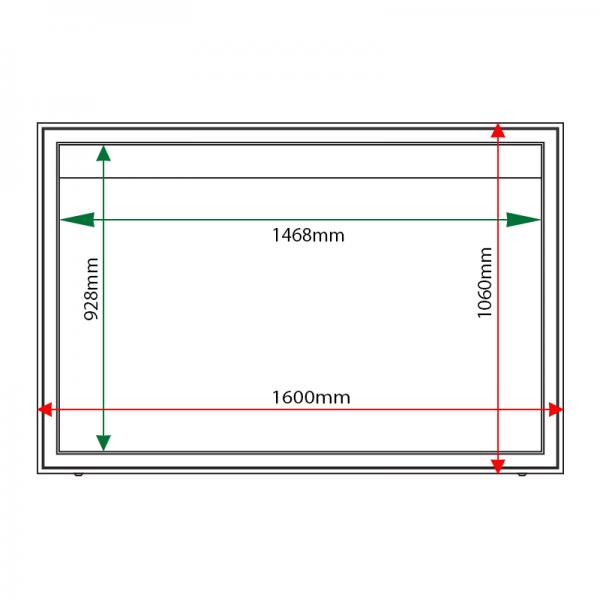 External & internal dimensions of AX21 Aluminium Noticeboard