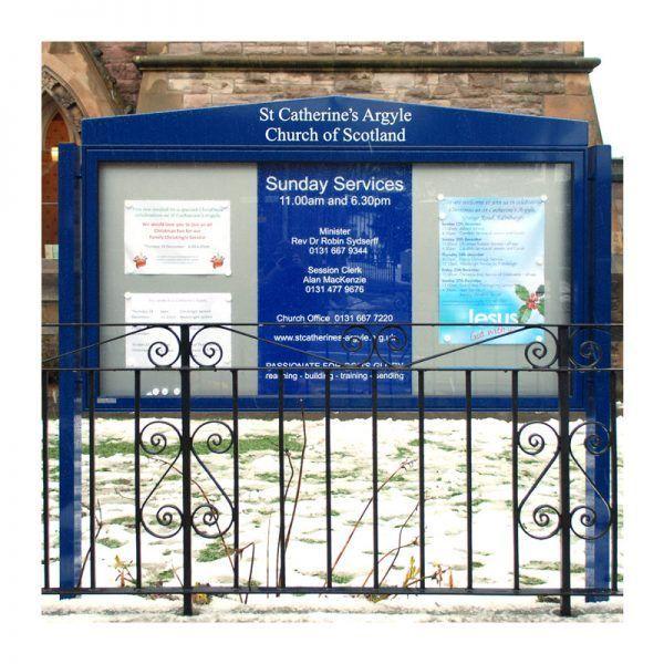 AX27 aluminium noticeboard, gable header option, St Catherines Argyle Church, Edinburgh