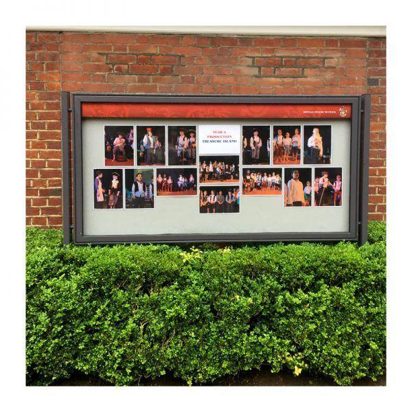 AX27 aluminium noticeboard, internal header option, Arnold House School