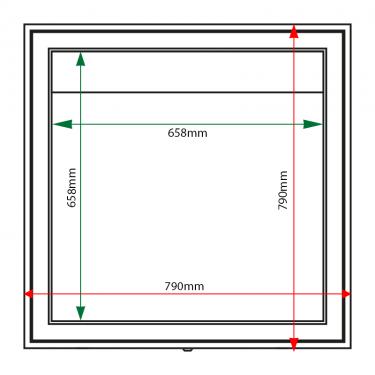 External & internal dimensions of AX6 Aluminium Noticeboard