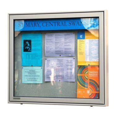 AX8 aluminium, wall-mounted, church noticeboard, St Mary, Swansea
