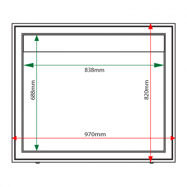 External & internal dimensions of AX8 Aluminium Noticeboard