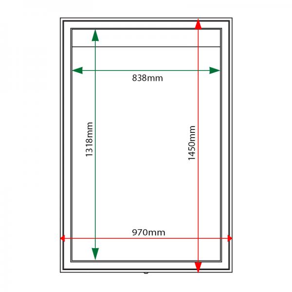 External & internal dimensions of AXA0 Aluminium Noticeboard
