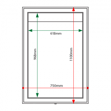 External & internal dimensions of AXA1 Aluminium Noticeboard