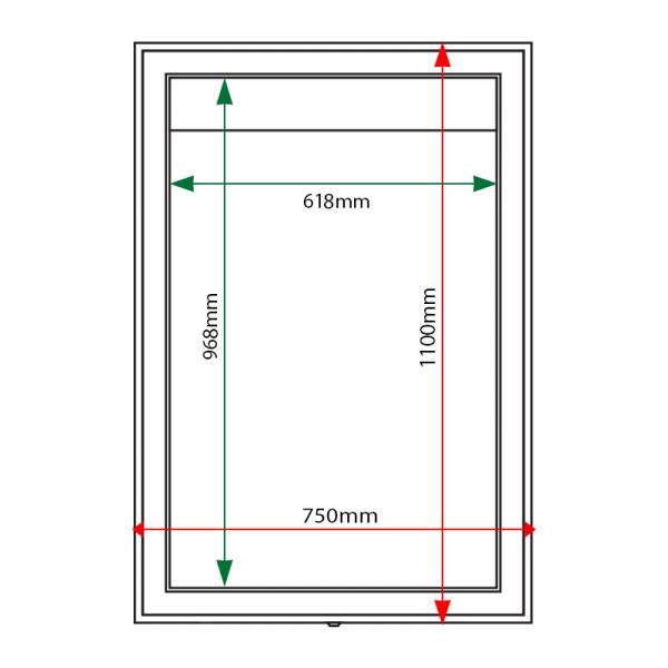 External & internal dimensions of AXA1 Aluminium Noticeboard