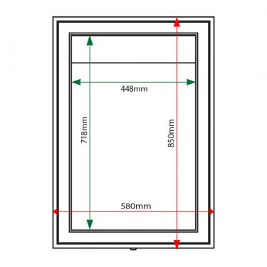 External & internal dimensions of AXA2 Aluminium Noticeboard