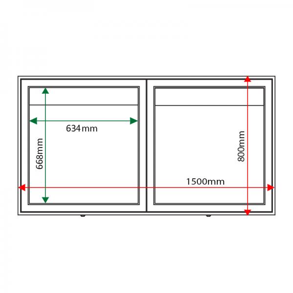 External & internal dimensions of AXD6 Aluminium Noticeboard