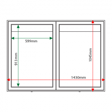 External & internal dimensions of AXDA1 Aluminium Noticeboard
