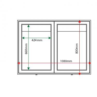External & internal dimensions of AXDA2 Aluminium Noticeboard