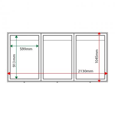 External & internal dimensions of AXTA1 Aluminium Noticeboard