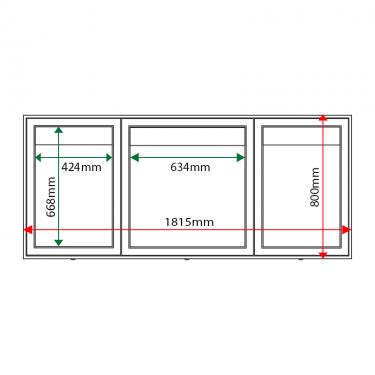 External & internal dimensions of AXTA2-6A4-A2 Aluminium Noticeboard